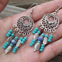 Southwestern Winds - Beaded Chandelier Boho Earrings