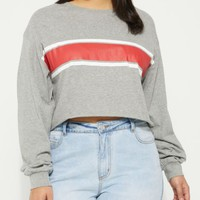 Plus Heather Gray Striped Crop Top