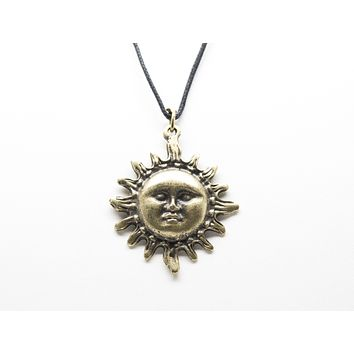 Face of Sun Pendant Unisex Necklace with Rope