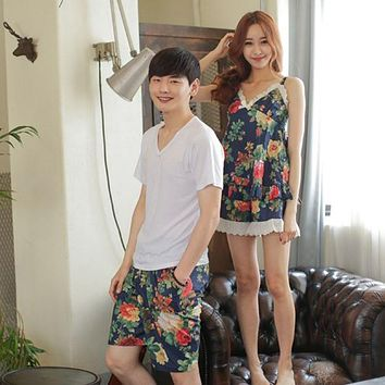 Summer Korean version of the couple pajamas short - sleeved two - piece men and women color leisure home pajamas