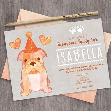 Bulldog Puppy Birthday Invitation Printable Watercolor Pet Party Invite Cute Puppy Dog Invitation Bulldog With Hat and Hearts Birthday Pawty