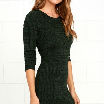 Obey Hanna Dark Green Long Sleeve Bodycon Dress