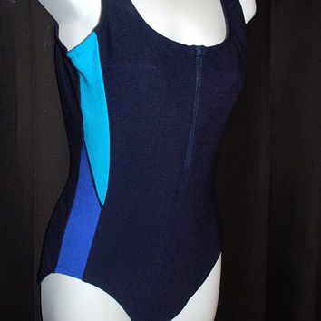 1970's Navy Blue Swimsuit / Baithing Suit / Maillot Style / one piece /  Womens Size 32 /  Small - Medium