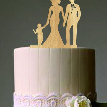 family wedding cake topper with boy, bride and groom silhouette, rustic wedding cake topper, unique wedding cake topper, wedding cake decor