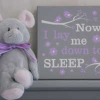 Now I Lay Me Down To Sleep - Nursery Prayer Signs - Painted Gray and Purple Baby Girl Nursery Decor with Birds on Branches and Flowers