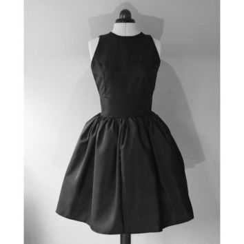 Classic Little Black Silk Taffeta Cocktail Dress by makemeadress