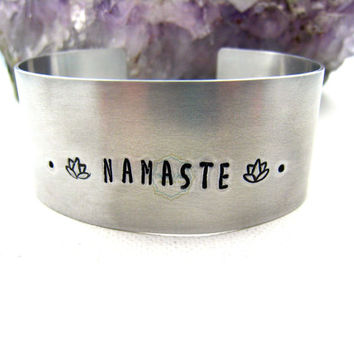 Namaste Bracelet Aluminum Namaste Cuff Yoga Jewelry Lotus Flower  Zen Jewelry Traveler Inspired Inspirational Summer Spring Trends Gift idea