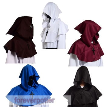 Vintage Medieval Cowl Hat Halloween Hooded Wicca Pagan Cosplay Accessory Unisex 5 Colors
