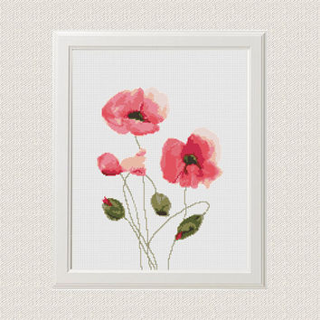 Poppies cross stitch pattern flowers Watercolor Modern Nursery room DIY decor Easy beginner cute flower grass counted chart instant download