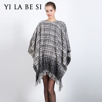 2016 New Women Blanket Poncho Oversized Scarves Catwalk Plaid Capes And Ponchoes Shawl Women Lady Wraps Nm300