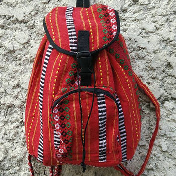Aztec Boho Tribal Backpack Festival Bags Travel bag Diaper Hippie Ethnic Aztec Hobo Style Hipster Pattern Festival School Messenger Red Chic