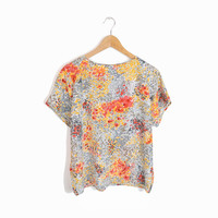 Vintage Floral Dot Blouse in Peach, Gray & Tangerine - women's m/l