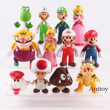 Super Mario party nes switch  Bros Luigi Toad Wario  Bowser Princess Peach Boo Goomba Yoshi Action Figure Toy for Children 12pcs/set 6-14.5cm AT_80_8