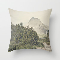 Retro Mountain River Throw Pillow by Kurt Rahn