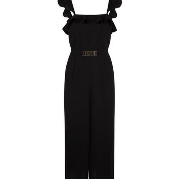 Black Ruffle Trim Wide Leg Jumpsuit | New Look