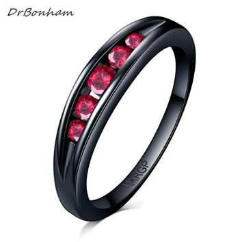 DrBonham simple never fading black gold filled Light red Clear CZ stone Finger Ring Women Wedding tail Ring forever love DR1716