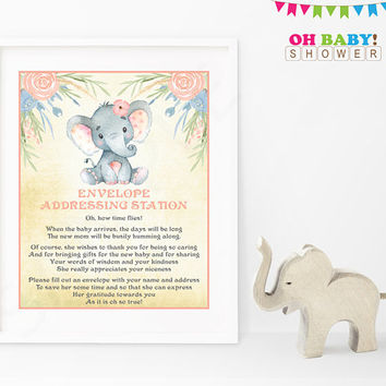 Elephant Baby Shower Sign Envelope Addressing Station Little Peanut Baby Shower Games Safari Instant Download Printable Rustic Girl ELWP