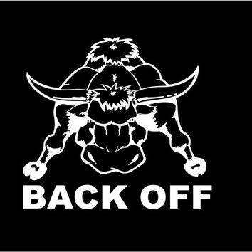 Back Off Bull Car Decal Auto Vehicle Window decal Sticker Bull Truck Rodeo Vinyl Decal