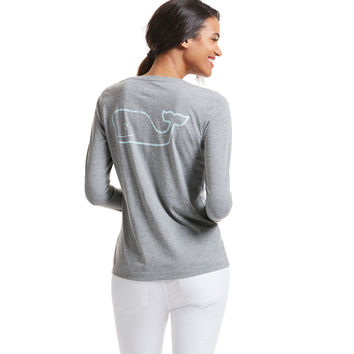Long-Sleeve Heather Vintage Whale Pocket Tee