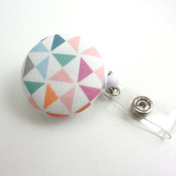 Geometric Retractable Badge Reel, Fabric ID Holder with Swivel Clip - Pastel Triangles