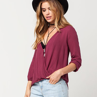 FULL TILT Textured Surplus Womens Top | Blouses