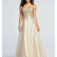 Strapless Tulle Prom Dress with Lace Embroidery - Davids Bridal