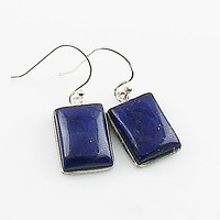 Lapis Rectangular Sterling Silver Earrings