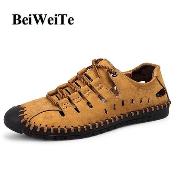 2018 Men Big Size Sandals Autumn Hiking Fishing Male Sport Shoes Breathable Genuine Leather Closed Toe Light Walking Beach Shoes