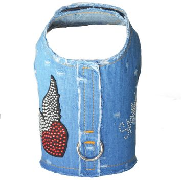 Frayed Denim Spoiled Dog Vest Harness