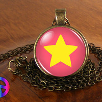 Steven Universe Star Necklace Cosplay Glass Photo Pendant Jewelry Toy Gift