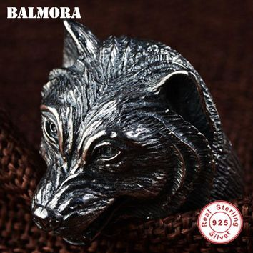 BALMORA 100% Real 925 Sterling Silver Wolf Head Open Rings for Men Gift Vintage Thai Silver Punk Animal Ring Jewelry SY21902