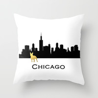 Chicago Skyline French Bulldog in Gold  Throw Pillow by Michelle O'Hollaren