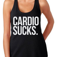 Cardio Sucks Tank Women's Gym Workout Fitness Booty Funny Muscle