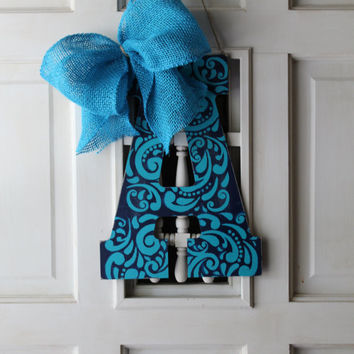 Navy and turquoise tribal aztec initial door hanger - initial door hanger, monogram door hanger, initial wreath, door decor, initial decor