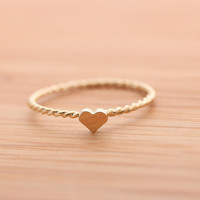 sterling silver tiny HEART with twisted band, 2 colors | girlsluv.it