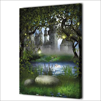 Forest Castle Fairy Tale Wonderland Wall Art Canvas Print Wall Decor Poster