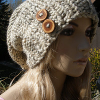 Oatmeal Tan Beige Wool Blend Slouchy Hand Knit Oversized Ribbed Woodsy Beanie Hat With Wood Buttons