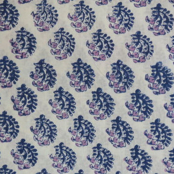 1 yard India soft Cotton summer Fabric/Natural Vegetable Dyes/Dress,skirt,wraparound,suit,Shirt,Curtain White/Blue flower pattern Jaipur