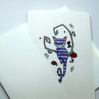 cheshire cat blank card alice in wonderland illustration