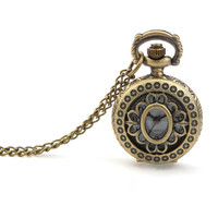 Vintage Hollow Flower Chain Necklace Analog Women Pocket Watch