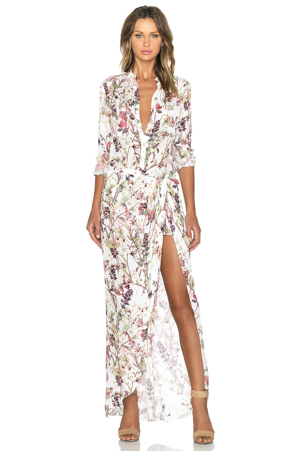 haute hippie 3 4 sleeve onesuit in swan from revolve clothing