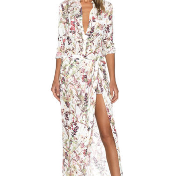 Haute Hippie 3/4 Sleeve Onesuit in Swan Multi