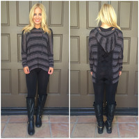 Valentina Striped Lace Back Hoodie - BLACK & CHARCOAL