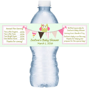Pink Owl Baby Shower Water Bottle Labels