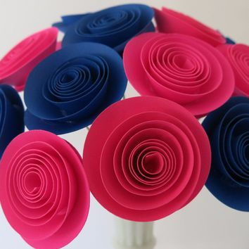 Gender Reveal Decorations 12 Hot Pink & Royal Blue Paper Flowers, Table Centerpiece, Boy or Girl Baby Shower Decor, Nursery