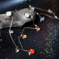 Long Elegant Solar System Necklace in Gold or Silver