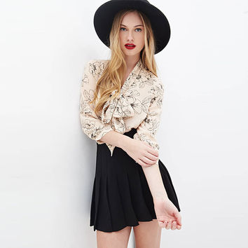 Floral Chiffon Long Sleeve Bow Chest Blouse