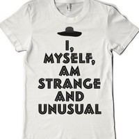 Strange and Unusual (juniors)-Female White T-Shirt