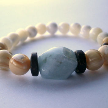 Gemstone Stretch Bracelet. Natural Aquamarine, Coconut Wood, Mother of Pearl. Gemstone Boho Stacking Bracelet.