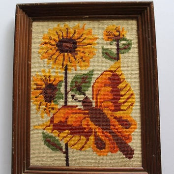 Vintage Yarn Needlepoint Butterfly Sunflowers Wooden Framed Art 1970s